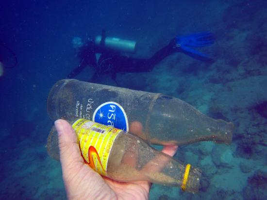 Pattaya Dive Centre: I picked up two glass bottles and Anna helped me to carried one up back to the dive boat