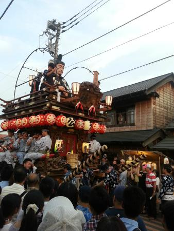 Historic Old Town along Onogawa River : One of the floats along the street near Yasaka Temple, which will move on to the riverside