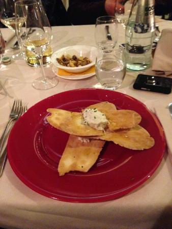 Le Masiere : Baccalà mantecato su crostini (in 5 strati) la porzione è veramente abbondante e saziante.