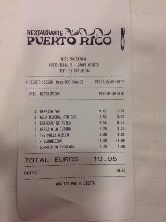 Ticket foto di restaurante puerto rico madrid tripadvisor for Restaurante puerto rico madrid