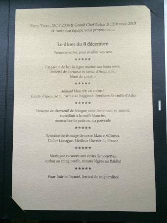 Les Terrasses de Lyon : Menu for the night