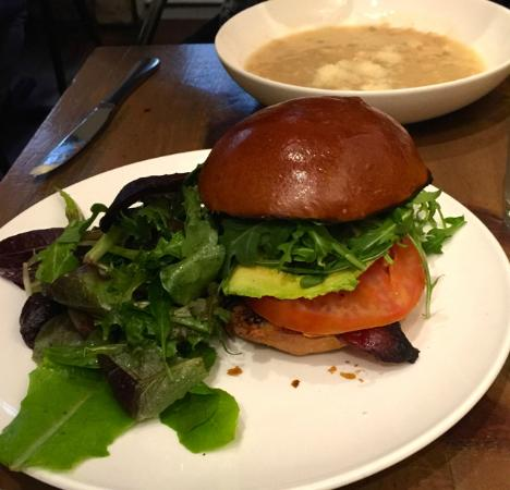 LIC Market : The white bean barley soup is hiding behind the BLT on brioche.