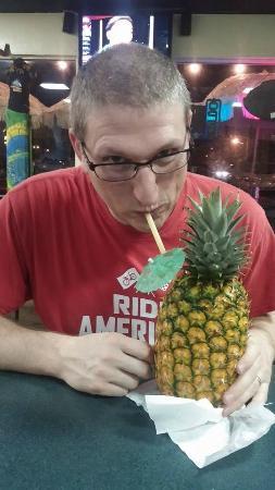North Shore Tacos: Enjoying the pineapple drink