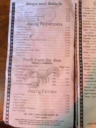 Menu - Picture of Jazz A Louisiana Kitchen, Lubbock - TripAdvisor