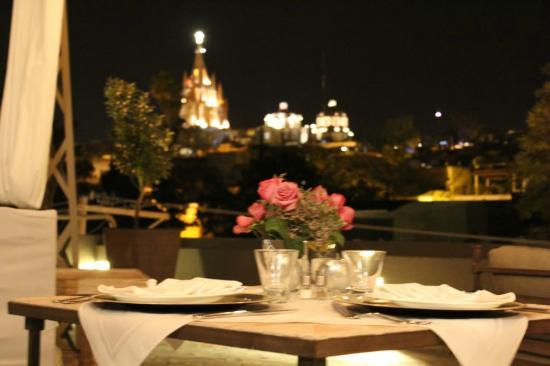 Hotel Casa Tierra Negra : cena privada con gran vista