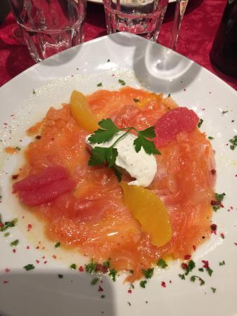 Restaurant Entre Nous: Carpaccio de truite sur lit d agrumed