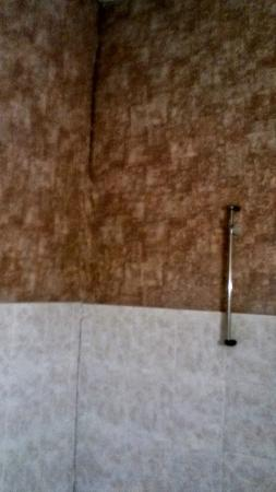 Hotel Les Chevaliers : mur de la douche gorgé d'humidité