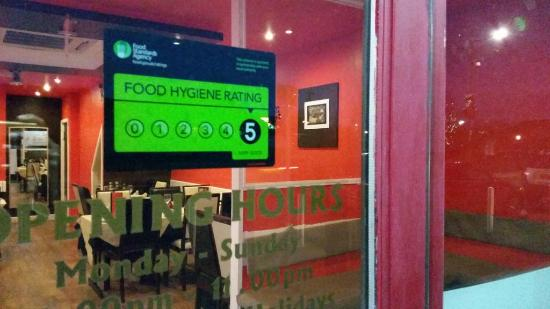 Holmewood, UK: 5 Star Hygiene rating from the FSA