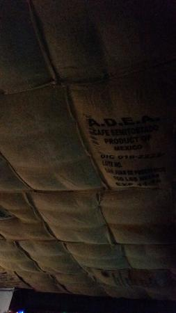 Old House Cafe: Cool ceiling,  made of burlap bags.
