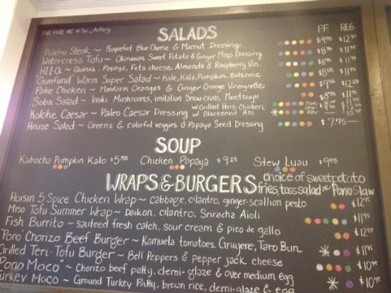 chalkboard menu picture of pono plates pearl city tripadvisor