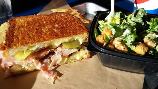 Meltz Extreme Grilled Cheese: cubano and caesar salad