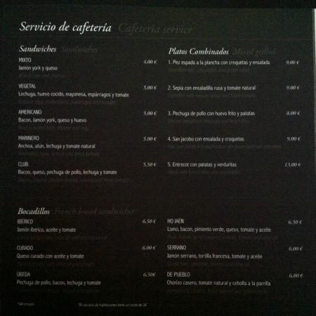 Hotel HO Ciudad de Jaen: Carta de Room Service