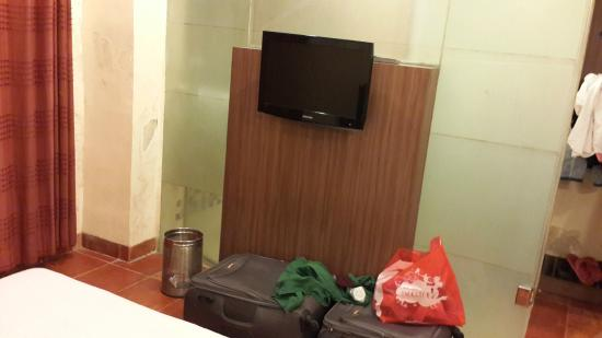 Chandralok Hotel: TV, view from your bed