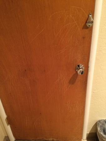 Motel 6 Fort Bragg: Claw marks on bathroom door