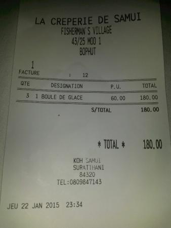 la crêperie de samui : Scontrino fiscale emesso dal locale