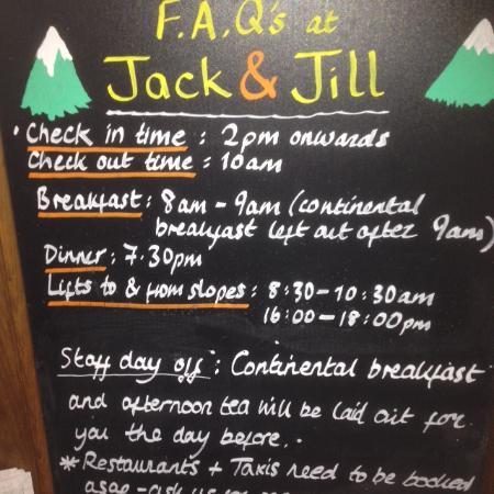 Jack & Jill - Chalet Beaumont : Chalet information board