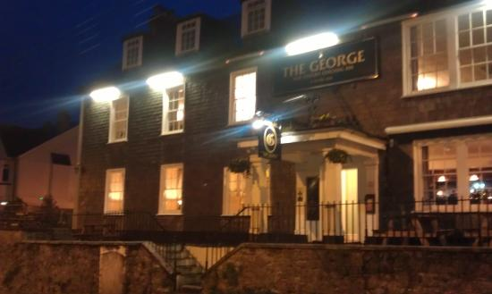 Plympton, UK: The George on cold night in January.