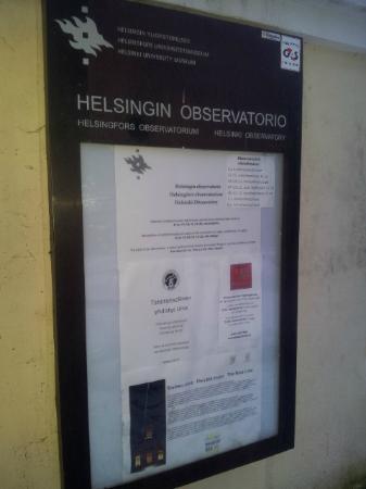 Helsinki Observatory: Entrance sign