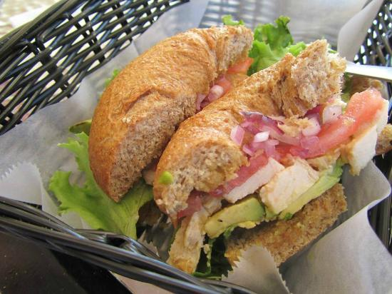 Java 654 Coffee Shop : Chicken avocado on a whole wheat bagel