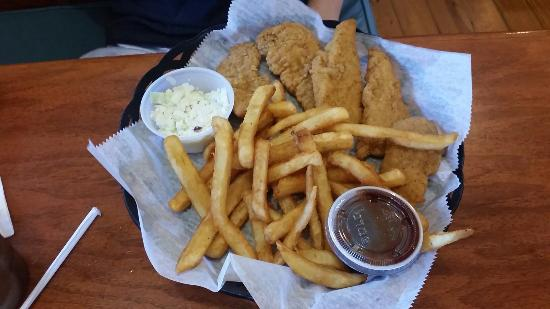 Charlie Horse Restaurant: Chicken tenders and fries with small side of corn slaw