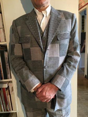 Ravis Tailor: Patchwork fabric suit