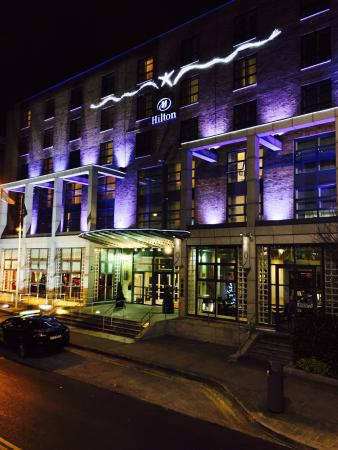 Hilton Dublin: Night time front view!
