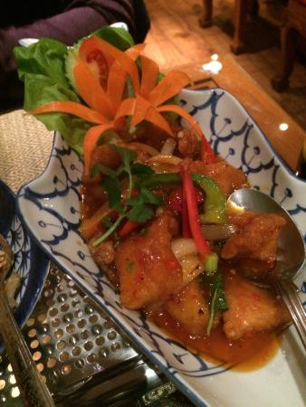 Thai Orchid : Sweet & sour breaded basa fish.