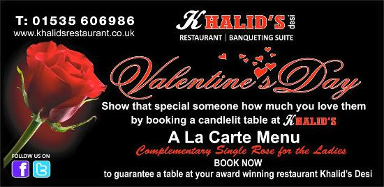 Khalid's Desi Restaurant: bookings now being taken for valentines day !!
