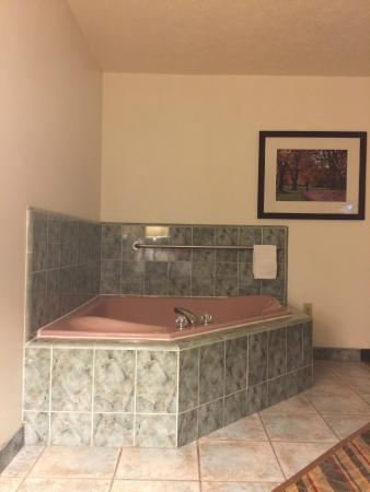 Visalia Sequoia Inn & Suites: lonely jacuzzi tub over in a far corner in the bedroom area