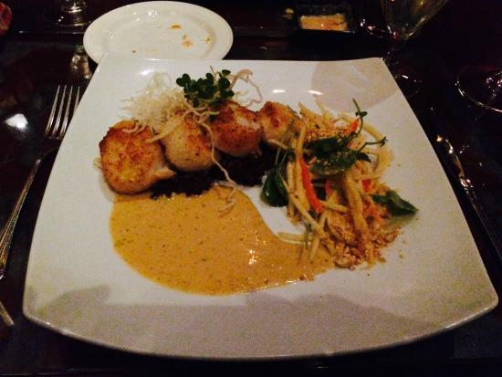 Ember : Scallops with fish salt crust over peanut purple rice with green papaya salad and panang curry