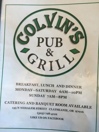 Colvins Pub & Grill: Cover of the menu