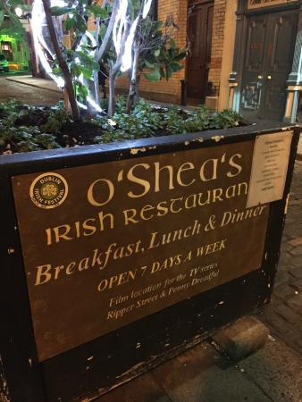 O'sheas Irish Restaurant: outside the restaurant