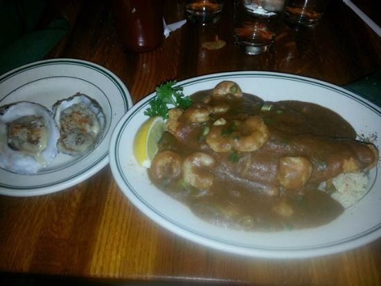 RT's Restaurant: Oysters on Half Shell (left)/Catfish Smothered w/Shrimp Etoufee (right)