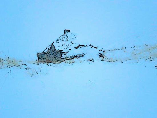 Eiriksstadir in the winter.