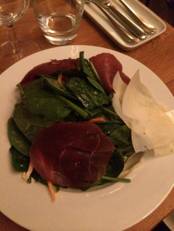 Josef: Spinach Salad with Air Dried Venison