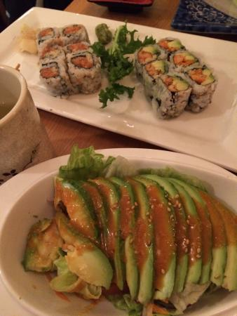 Umi Sushi: Avocado salad, and yellowtail roll. And spicy crawfish roll.