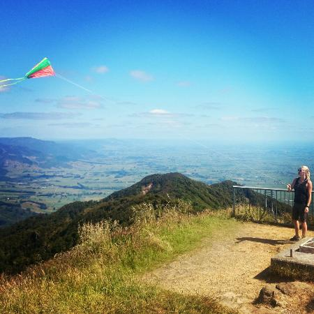 North Island, New Zealand: Kite flying on top of te aroha