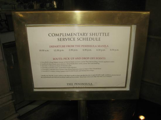 The Peninsula Manila: shuttle bus schedule to & from 5 major shopping outlets