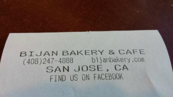 Bijan Bakery: Bijan receipt