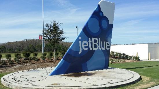 JetBlue Park: Sun clock with the Jetblue airplane tail...