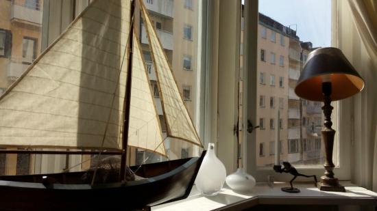 Parlan Hotell: Zicht vanuit ontbijtruimte (lijkt op kameruitzicht)