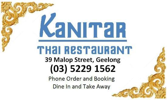 Take away menu back picture of kanitar thai restaurant geelong kanitar thai restaurant business card reheart Gallery