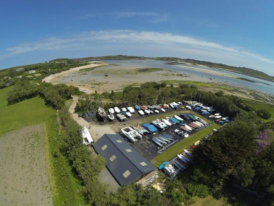 Bryher, UK: Bennett Boatyard from the air