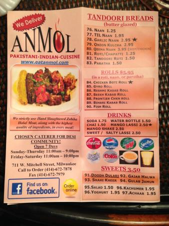 Menu Picture Of Anmol Restaurant Milwaukee Tripadvisor