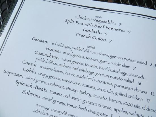 Alpenrose Restaurant: menu