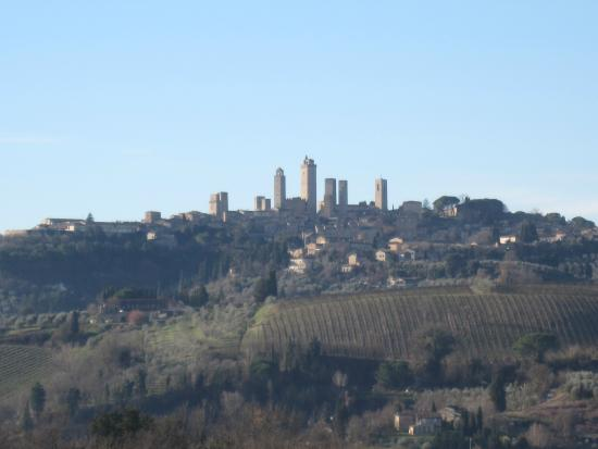 Tuscany Car Tours: San Gimignano from a scenic place along the road