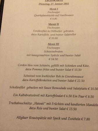 Leutkirch im Allgau, Německo: Speisekarte
