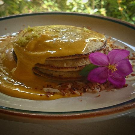 Hale Hualalai Bed and Breakfast: Mascarpone Lime Pancakes w/ Lilikoi Curd and Toasted Coconut shavings