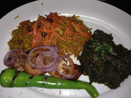 Lemar : Grilled lamb with brown rice pilaf and spinach side