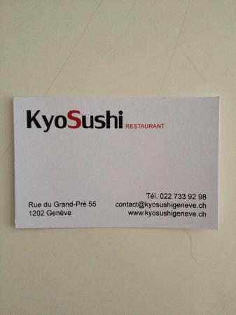 Kyo Sushi Carte De Visite